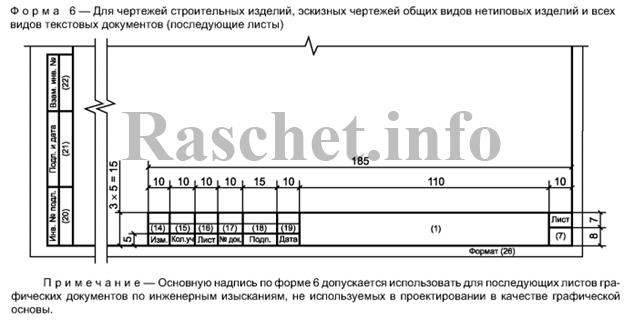 Штамп по форме 6 Приложение Ж ГОСТ Р 21.1101