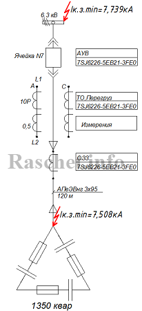 Рис.1 - Принципиальная схема защиты линии к конденсаторной установке типа УКЛ56-6,3-1350 У3