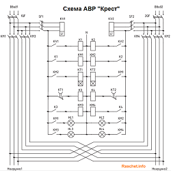 Схема АВР — Крест с реле времени