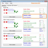 Программа расчета токоограничивающего резистора для светодиода