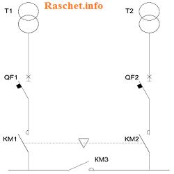 Схема АВР с секционным контактором