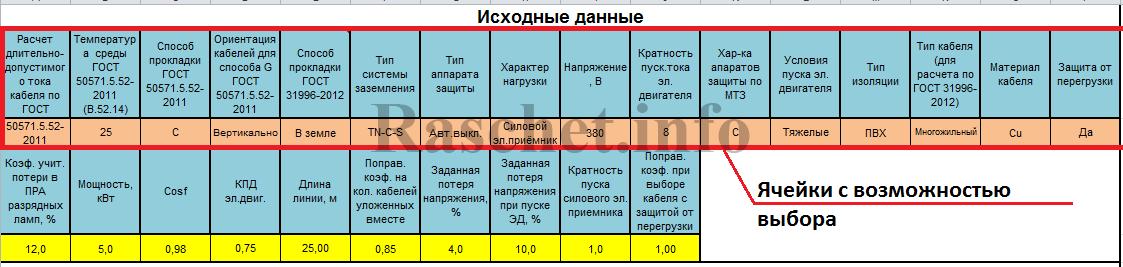 Программа расчета нагрузок, токов к.з. и выбор сечения кабеля для жилых зданий - Исходные данные
