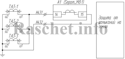 Рис.2 - Схема подключения ТТНП к терминалу защиты