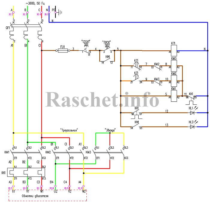 Схема управления двигателем «звезда-треугольник» с реле времени