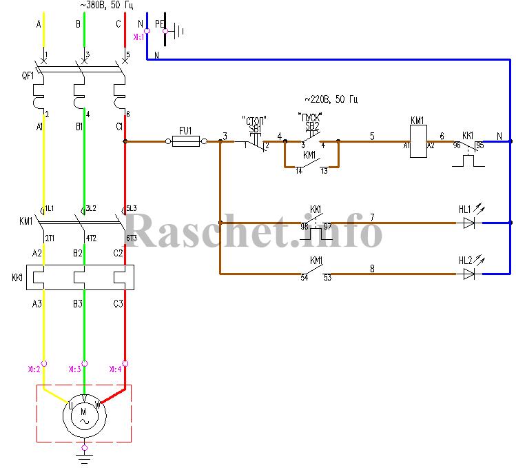 Схема управления нереверсивным двигателем – «прямой пуск»