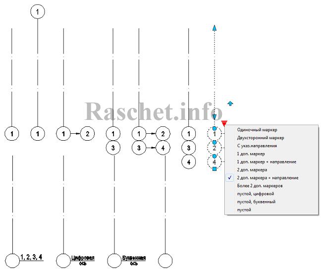 Динамический блок координационной (строительной) оси