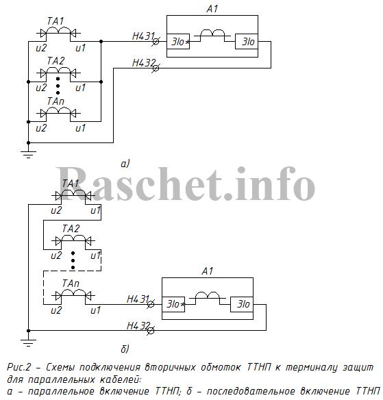 Рис.2 - Cхемы подключения вторичных обмоток ТТНП к терминалу защит для параллельных кабелей: