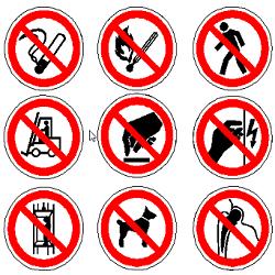 Запрещающие знаки безопасности по ГОСТ 12.4.026-2015 в формате dwg