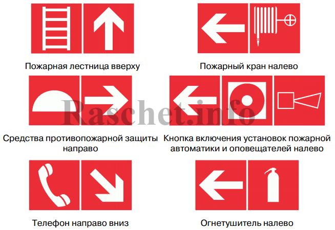 Комбинации использования пожарных знаков