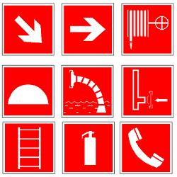 Знаки пожарной безопасности по ГОСТ 12.4.026-2015 в формате dwg