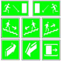 Эвакуационные знаки безопасности по ГОСТ 12.4.026-2015 в формате dwg