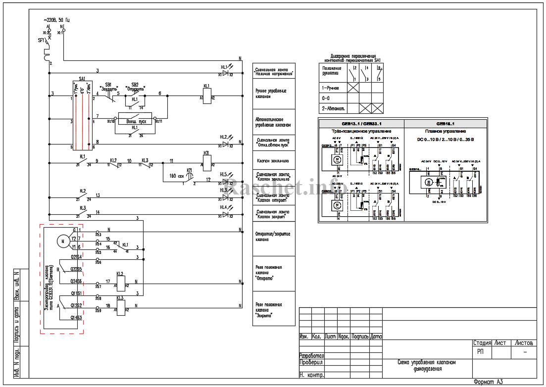 Cхема управления клапаном дымоудаления с приводом типа GEB331.1Е