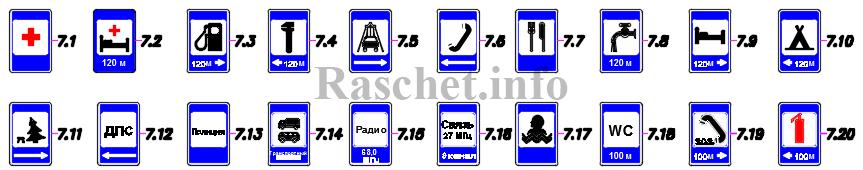 Знаки сервиса согласно таблицы А.7