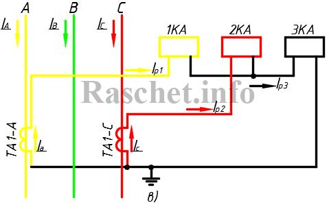 Схема неполной звезды ТТ с реле в обратном проводе