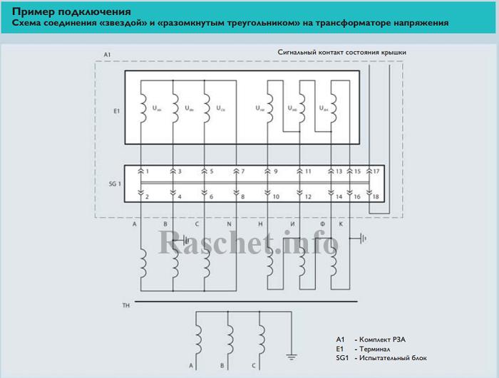 Пример 1 - Подключение ТН с испытательными блоками