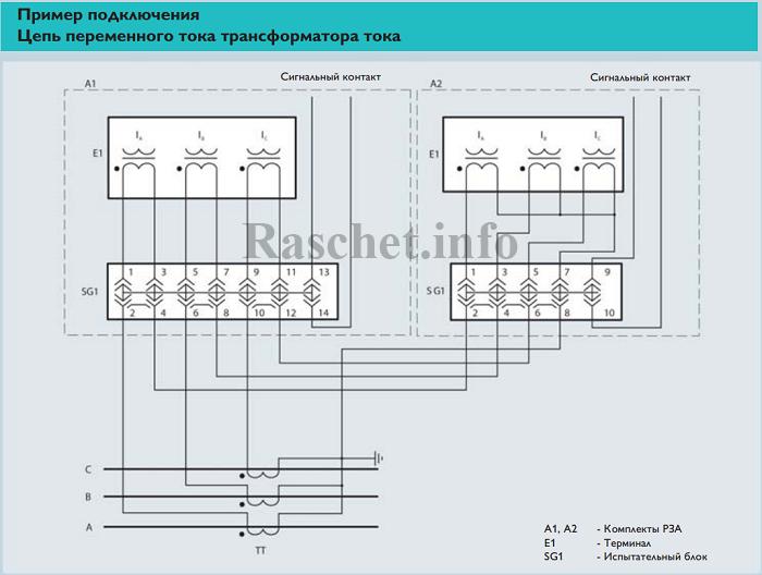 Пример 2 - Подключение ТТ с испытательными блоками