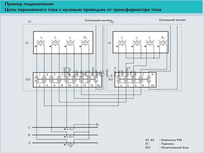 Пример 3 - Подключение ТТ с испытательными блоками