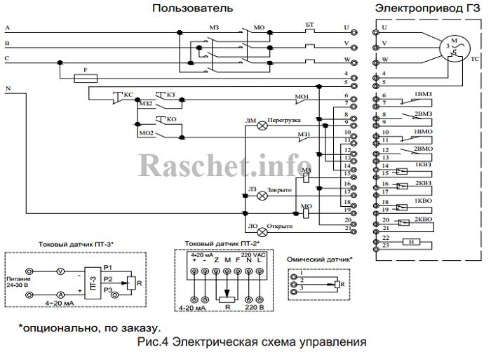 Рекомендуемая схема подключения электропривода ГЗ