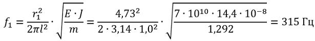 Определяем частоту собственных колебаний шины по формуле 22