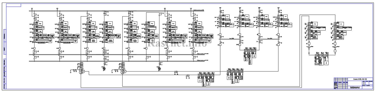 Распределение защит по ТТ для схемы №110-13H с трехобмоточным трансформатором