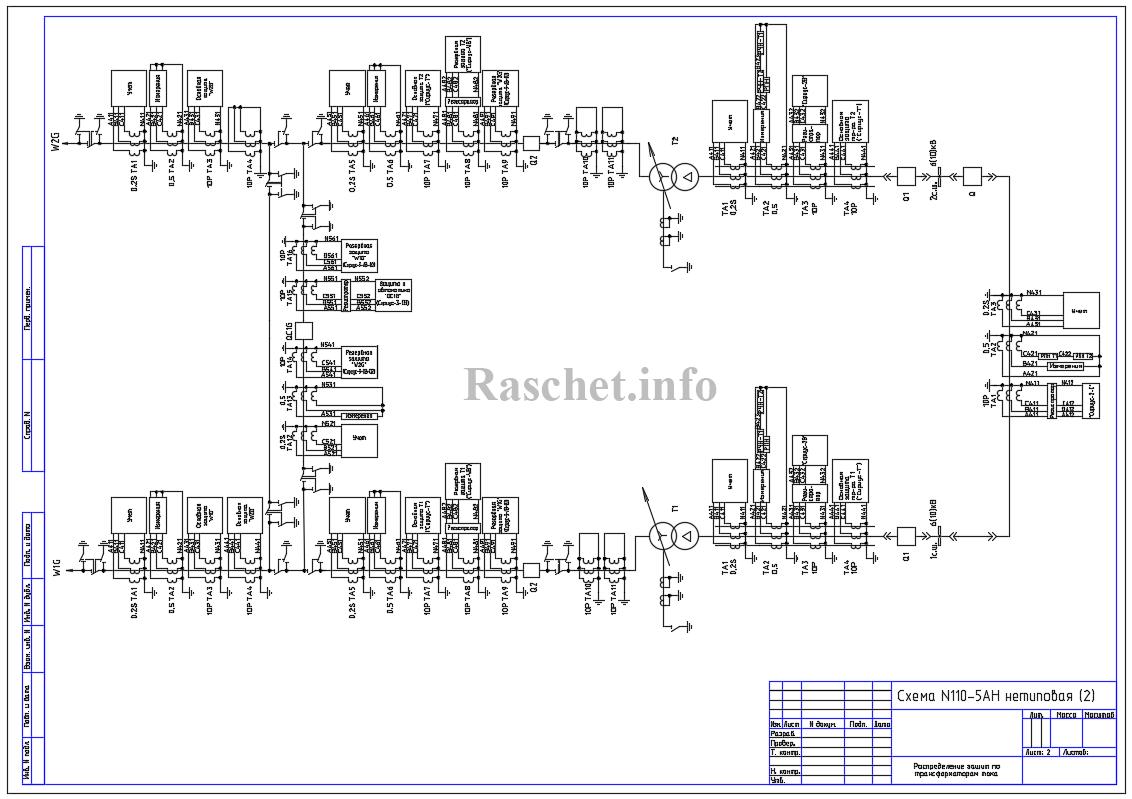 Распределение защит по ТТ для схемы №110-5AН с двухобмоточным трансформатором