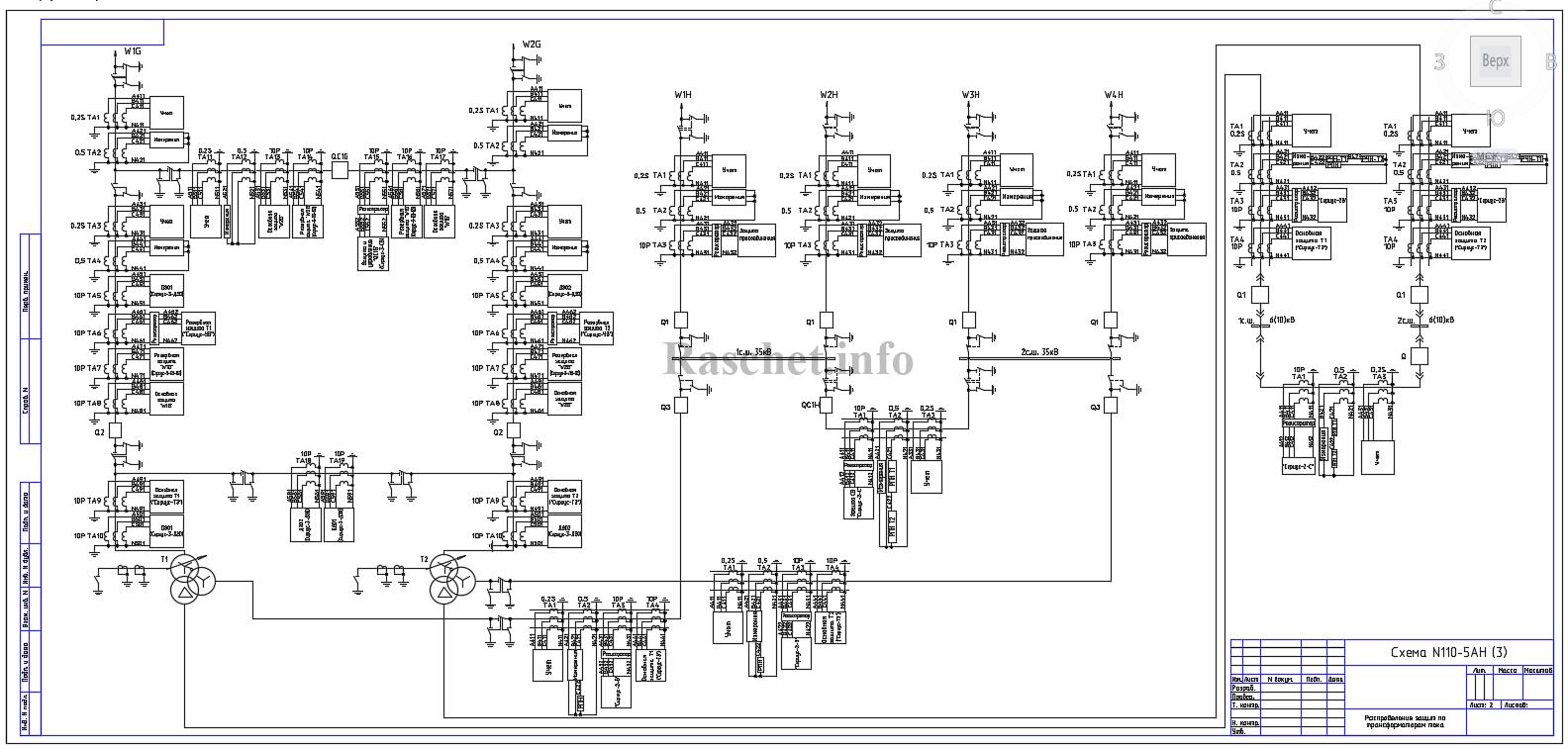 Распределение защит по ТТ для схемы №110-5AН с трехобмоточным трансформатором