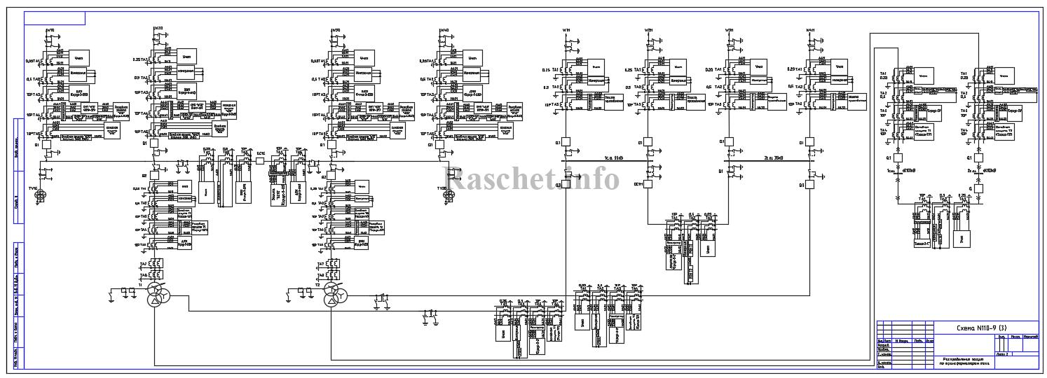 Распределение защит по ТТ для схемы №110-9 с трехобмоточным трансформатором