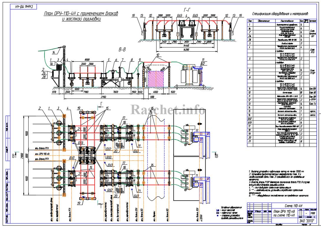 План ОРУ 110 кВ по схеме №110-4Н