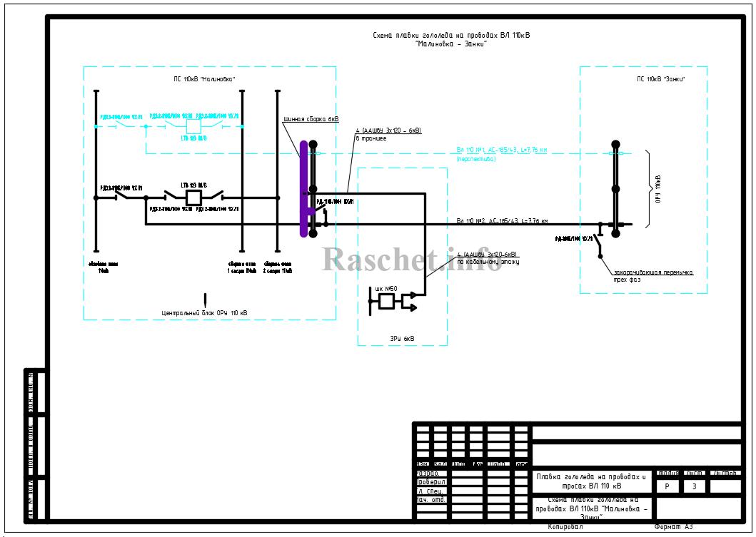 Схема плавки гололеда на проводах