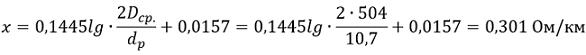 Определяем индуктивное сопротивление для проводов марки СИП-3 1х50-20