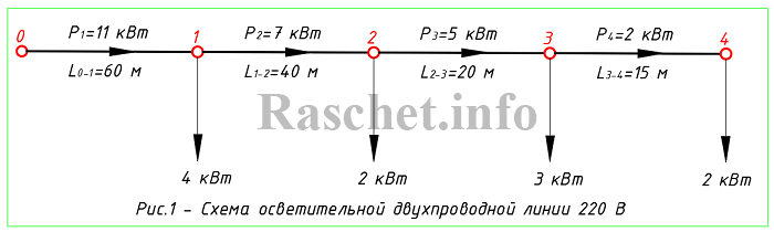 Рис.1 - Схема двухпроводной линии освещения