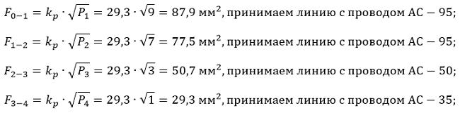Определяем сечение проводов для каждого участка, по формуле 6-40