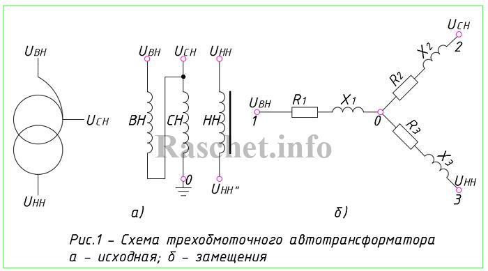 Рис.1 - Схема трехобмоточного автотрансформатора