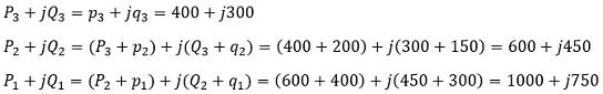Определяем мощности (кВт и квар) по участкам