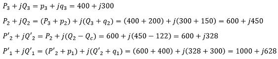Определяем мощности (кВт и квар) по участкам с учетом установки конденсаторов