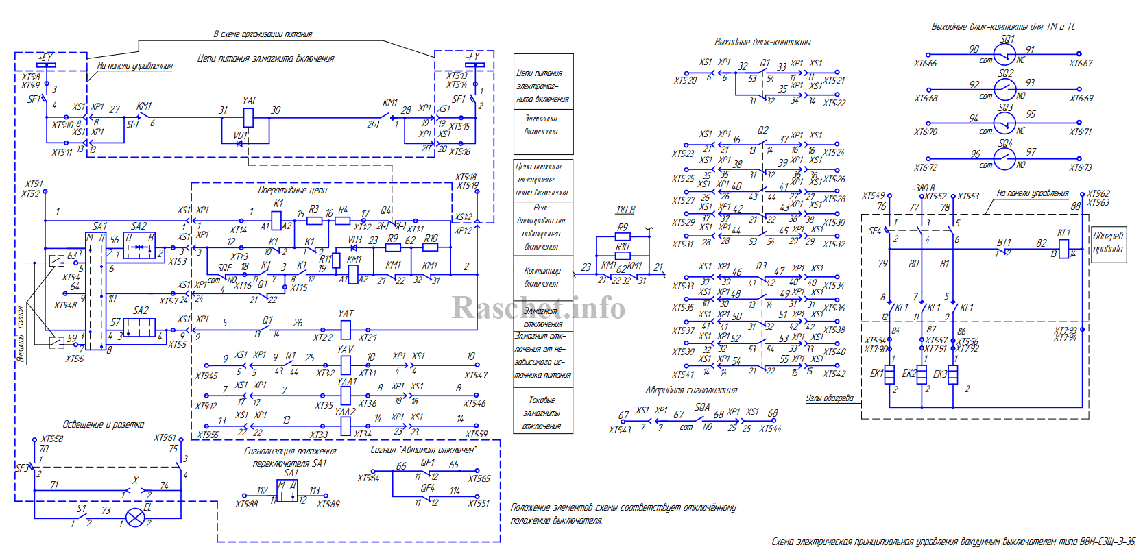 Схема привода выключателя ВВН-СЭЩ-Э-35 в руководстве 2ГК.256.050-08 РЭ Приложение Б