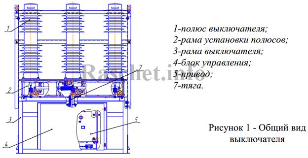 Общий вид выключателя ВВН-СЭЩ-П-35