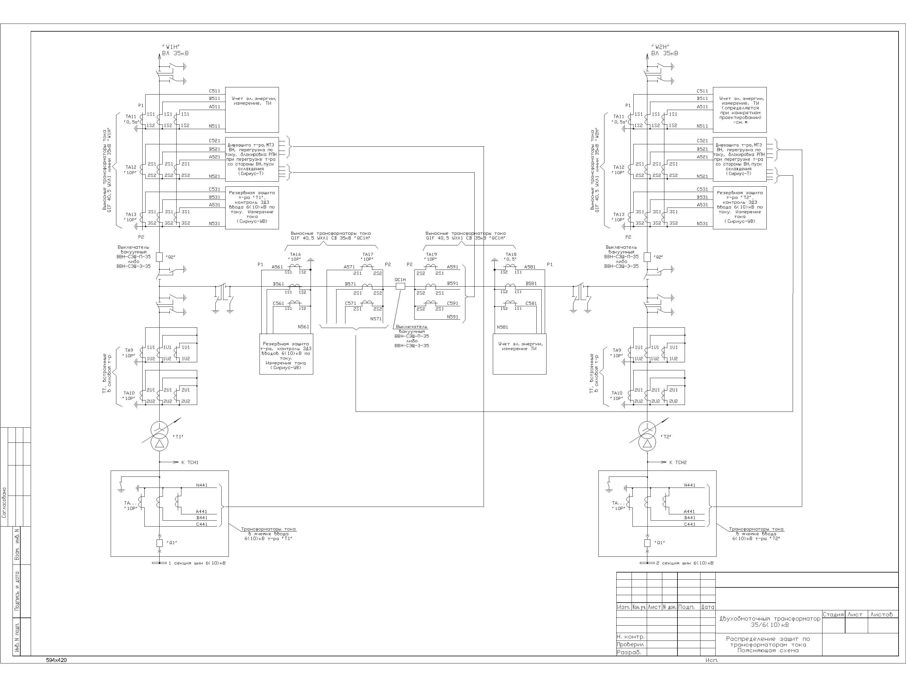 Распределение защит по ТТ для схемы №35-5А в формате dwg