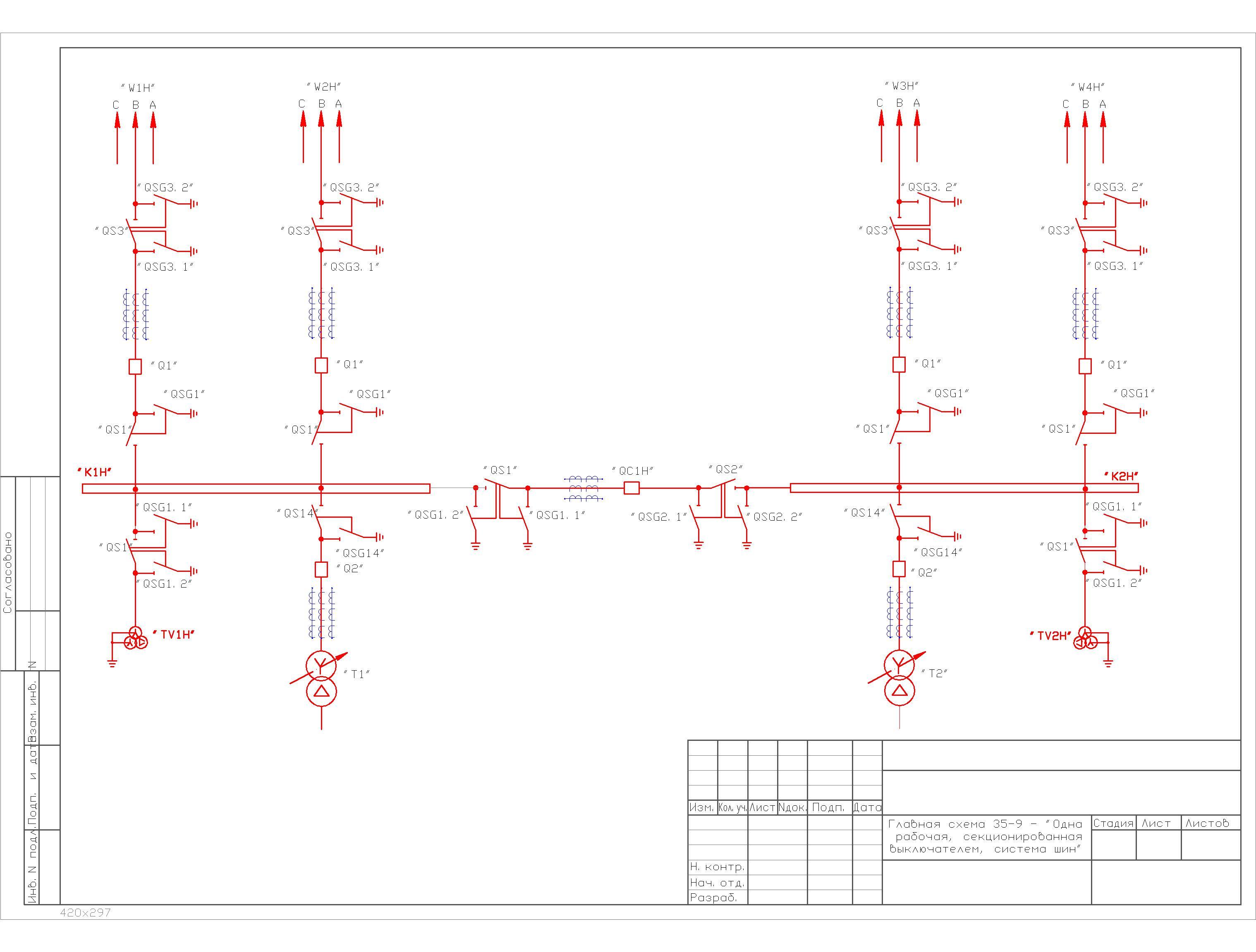 Главная схема №35-9 в формате dwg