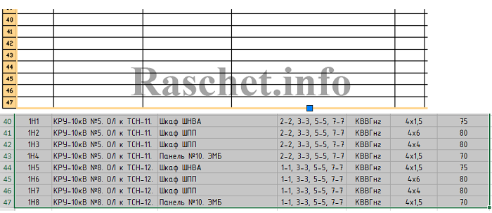 Кабельный журнал в Excel и автокаде